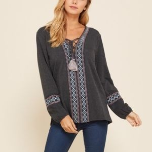 Embroidered Charcoal Long Sleeve Top with Tassels